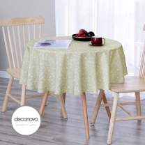 Deconovo Designer Series 54 inch Round Table Cloth Sweets Pattern Water Resistant and Spill Resistant Oxford Table Cover for Round Table Lime Green