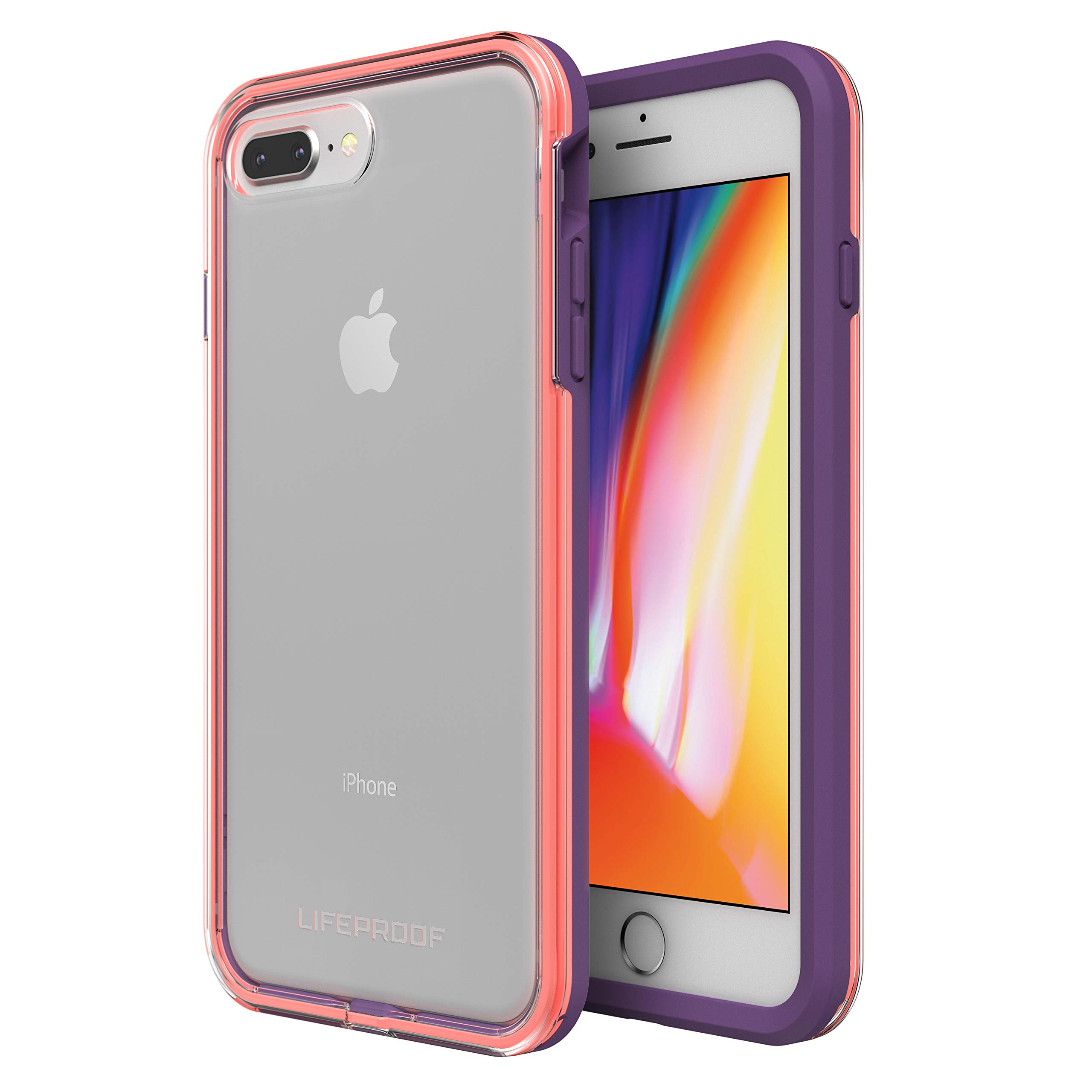 Lifeproof SLAM Series Case for iPhone 8 Plus & 7 Plus (ONLY) - Retail Packaging - Free Flow (Clear/Fusion Coral/Royal Lilac)