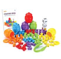 JOYIN Play-Act Counting/Sorting Bears Toy Set with Matching Sorting Cups Toddler Game for Pre-School Learning Color Recognition STEM Educational Toy-72 Bears, Fine Motor Tool, Dice and Activity Book