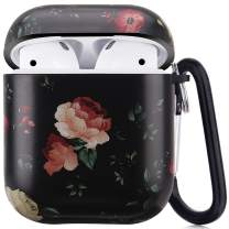 Airpods Case - LitoDream Cute Flower Airpods Accessories Protective Hard Case Cover Portable & Shockproof Women Girls Men with Keychain for Airpods 2/1 Charging Case (Black Flower, Matted Surface)