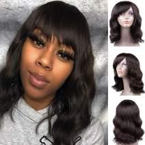 Short Bob Wigs for Black Women Body Wave Bob Wigs Machine Made Cheap Human Hair Wigs 130% Density Natural Wavy Wig (14 inch)