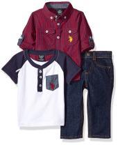 U.S. Polo Assn. Baby Boys' Sport Shirt, Creeper and Pant Set