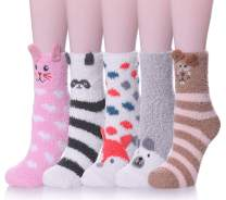 Womens Soft Cute Funny Animal Designe Microfiber Slipper Socks Cozy Fuzzy Winter Warm Socks