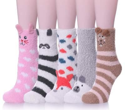 Girls Ladies Christmas Cozee Slipper Socks Sherpa Shoes 3D Animal Novelty Fleece