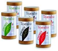 Teatulia Energy Tea Variety Pack (Rooibos Red Tea, Black Tea, and Green Tea Energy) 180 Caffeinated & Decaf Naturally Energizing Tea Bags – Assorted Eco-Friendly Tea Gift (6 Cans)