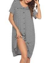 Ekouaer Women's Striped Robe Short Sleeve Button Down Nightgown Soft Sleepwear Housecoat and House Dress