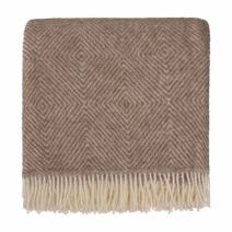 URBANARA 100% pure Scandinavian Wool Throw Gotland 55x87 Light Brown/Cream with Fringe — Virgin Wool Blanket With Decorative Diamond Weave Design — Perfect for your Couch, Sofa, Bedroom, Twin Size Bed