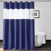 UFRIDAY Long Waffle Shower Curtain 72 x 78 Inch, Navy Blue Waffle Heavy Duty Fabric Shower Curtain with Sheer Voile Window Allow Privacy ,Waterproof Thicken Bathroom Curtain.