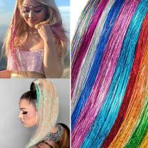 """Xinxinshuyu Hair Tinsel with Tools 12 Colors in Set Sparkling Shiny Hair Tinsel Extensions Colored Party Highlights Glitter Extensions Multi-Colors Hair Streak Bling (12 Colors, 45"""")"""