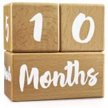 Growing Gifts Baby Milestone Blocks for Boys and Girls (3 Pc. Set)   1-52 Weekly, Monthly, First Year, and Yearly Photo Props   Real, Natural Wood Keepsakes   Shower, Newborn, Infant   UPDATED PRODUCT