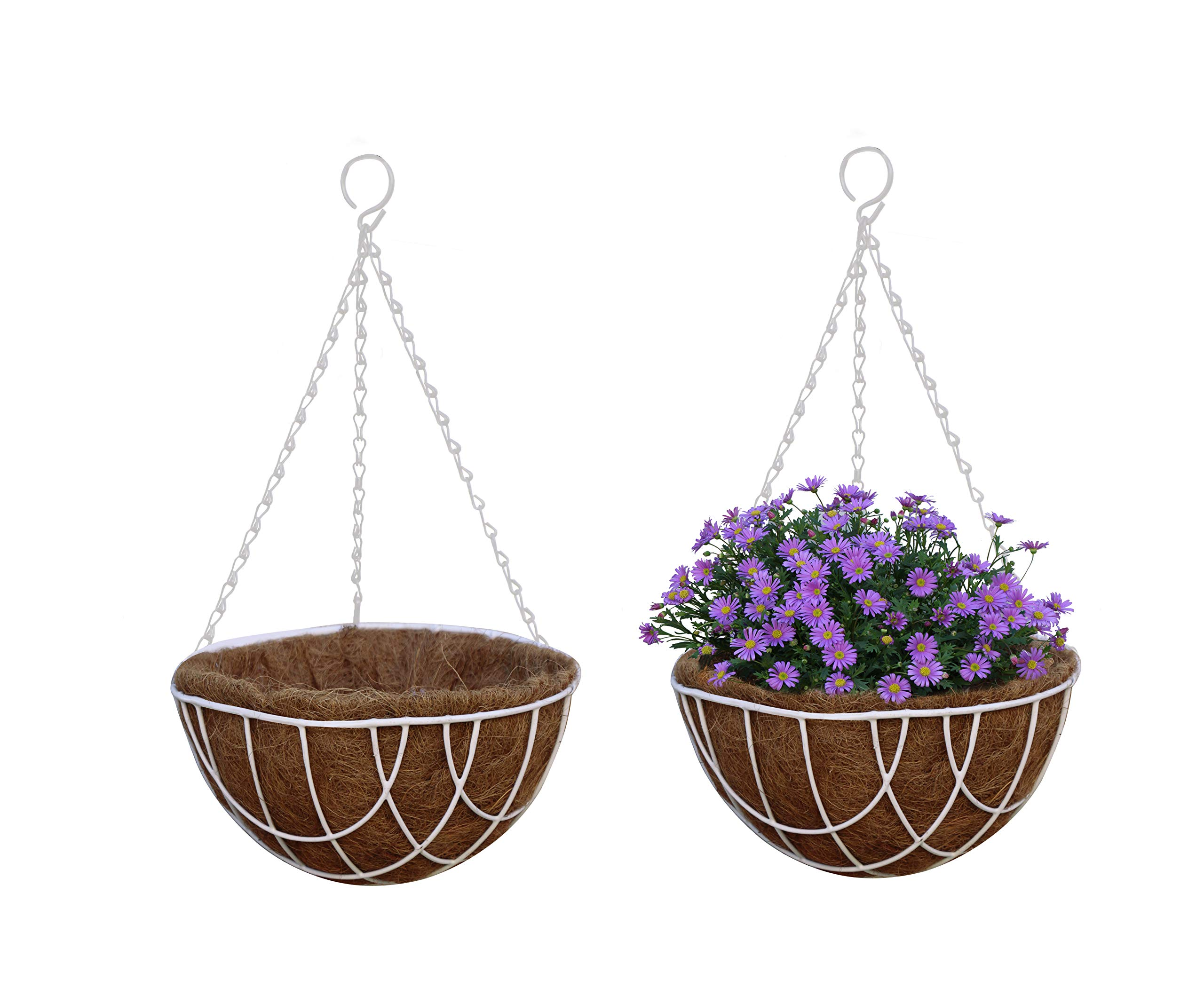 """TABOR TOOLS MT2101A 2-Pack Metal Hanging Planter Basket with Natural Coconut Coir Liner, Water Saving Hanging Flower Pot, Decor Hanging Basket, Chain and Hook Included (Wire 10"""", White)"""
