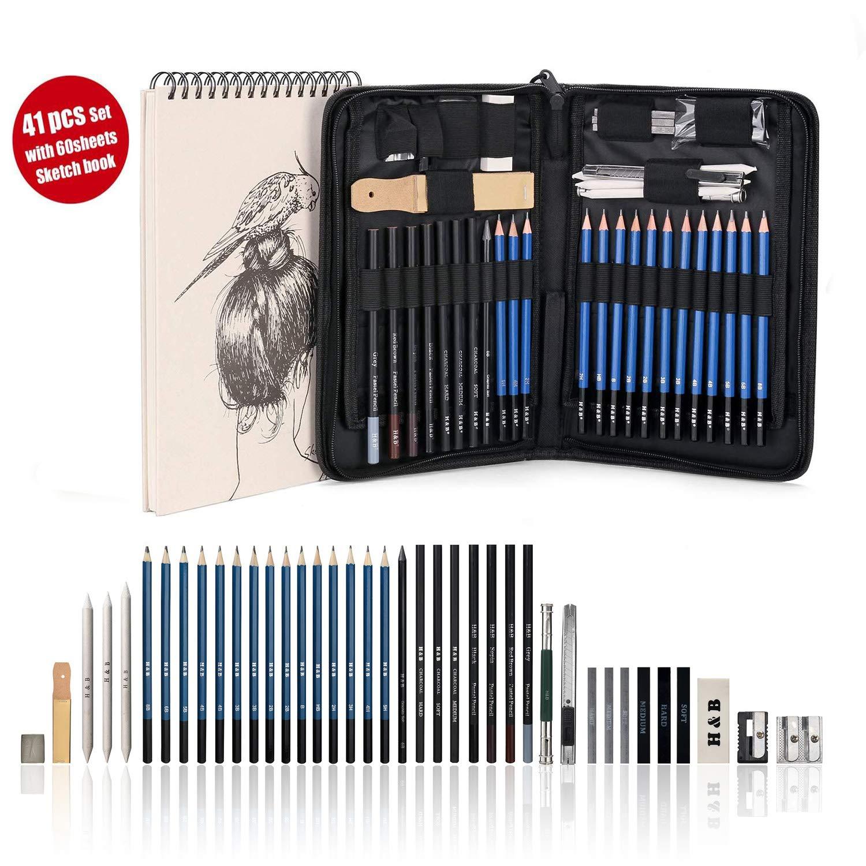 AGPTEK Drawing Kit (41-Piece Set) Including Pencils, Pastel Pencils, Erasers, Knife, Pencil Extender, Sharpener, Sketch Book(60 Sheets) & Carry Case for Teens Kids Adults