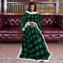 "Sherpa Wearable Blanket for Adult Women and Men, Super Soft Comfy Warm Plush Throw with Sleeves TV Blanket Wrap Robe Cover for Lounge Chair Couch 72"" x 55"" Green Plaid"