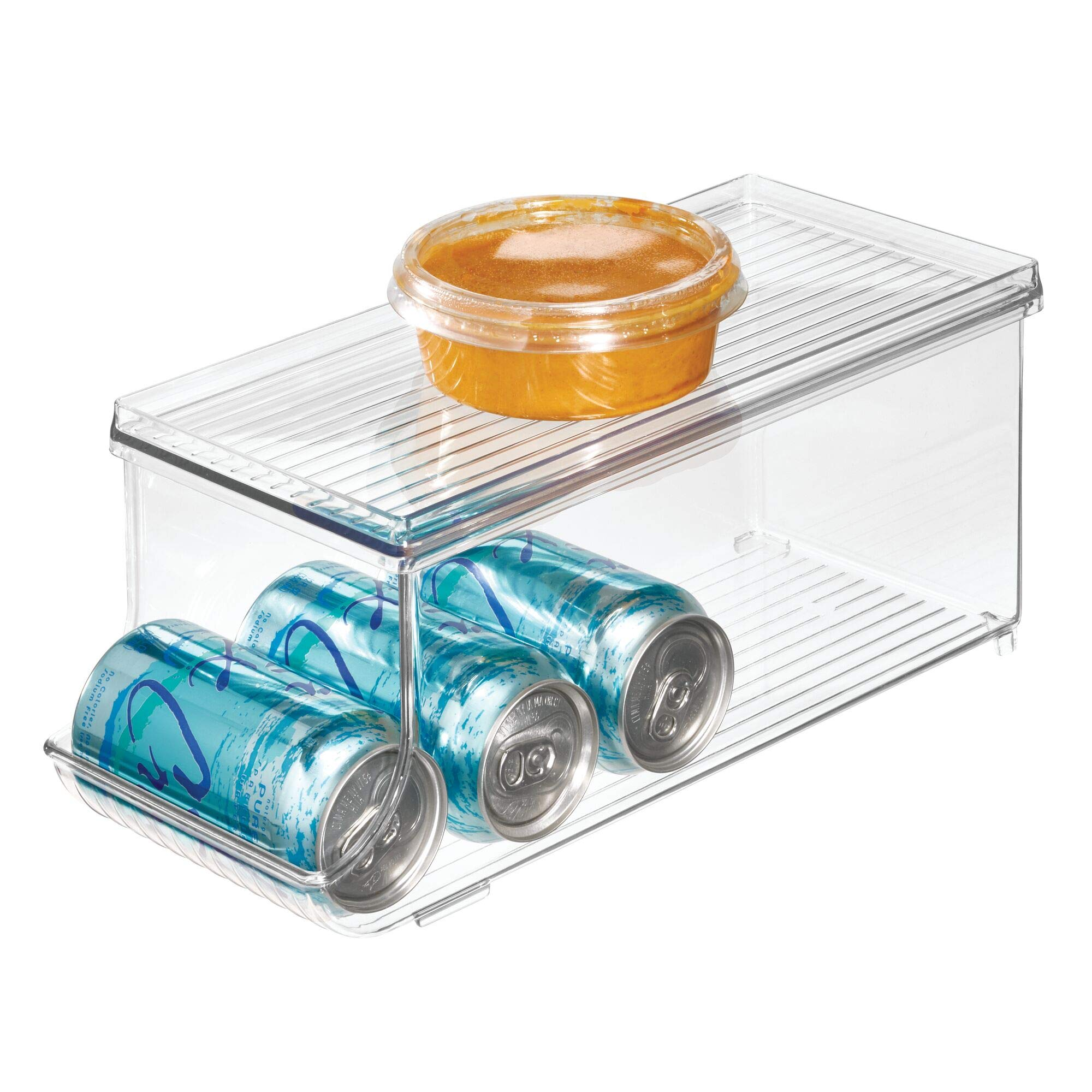 """iDesign Plastic Canned Food and Soda Can Organizer with Lid for Refrigerator, Freezer, and Pantry for Organizing Tea, Pop, Beer, Water, BPA-Free, 13.75"""" x 5.75"""" x 5.75"""", Clear"""
