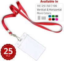 Durably Woven Lanyards & Vertical ID Badge Holders ~ Premium Quality, Waterproof & Dustproof ~ for Moms, Teachers, Tours, Events, Businesses, Cruises & More, 25 Pack, Red by Stationery King