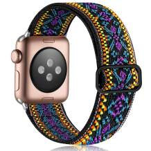 Vcegari Stretchy Loop Band Compatible for Apple Watch 38mm 40mm, Adjust Sport Elastic Nylon Replacement Wristband for iWatch SE Series 6 5 4 3 2 1, Boho Plum