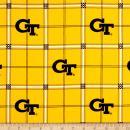 Sykel Enterprises Yellow NCAA Georgia Tech Flannel Plaid Fabric by The Yard