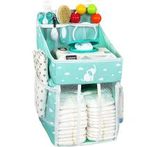 Hanging Diaper Caddy – Crib Diaper Organizer – Diaper Stacker for Crib, Playard or Wall – Newborn Boy and Girl Diaper Holder for Changing Table Elephant Green - 17x9x9 inches