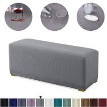 Granbest Premium Water Repellent Ottoman Cover High Stretch Rectangle Folding Storage Stool Ottoman Slipcovers (Ottoman Standard, Light Gray)