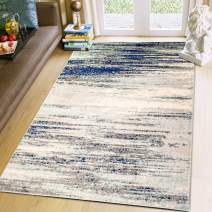 Super Area Rugs 5x8 Modern Dining Room [5' 2'' X 7' 6''] Area Rug Abstract Stripes Carpet Grey Blue