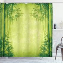 """Ambesonne Bamboo Shower Curtain, Chinese Banmboo Trees Design Fengshui Style Simple Organized Relaxing Life Image, Cloth Fabric Bathroom Decor Set with Hooks, 75"""" Long, Green Yellow"""