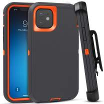 FOGEEK Case for iPhone 11, Heavy Duty Rugged Case, Belt Clip Holster Kickstand Protective Cover [Shockproof] Compatible for iPhone 11 [6.1 Inch] (Dark Grey/Orange)