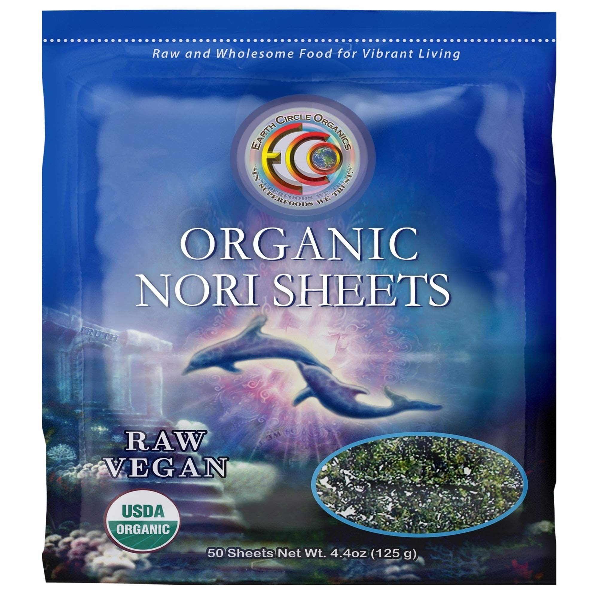 "Earth Circle Organics   Raw Certified Organic Nori Seaweed   Grade ""A"" Rating   Unheated & Not Roasted   Vegan   Paleo & Keto Friendly   Premium Quality Nori Sheets (50 Sheet)"