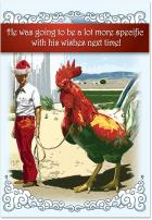 Chicken Christmas Present - Funny Men's Merry Christmas Card with Envelope (4.63 x 6.75 Inch) - Holiday Adult Joke, Season's Greetings Card for Husband, Men - Happy Holidays Notecard Stationery 1345