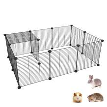 SIMPDIY Pet Playpen & Exercise Playpen, Portable Metal Small Animal Crate, Tent, Fence, Cage and Playpen for Guinea Pigs, Hamsters, Bunnies, Rabbits, 14'x14