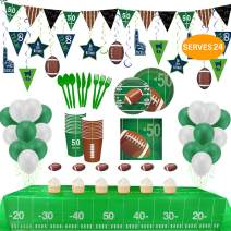 Football Party Supplies and Decorations Set-Include Tablecover, Plates, Flatware Set, Cup, Napkins (Serves 24) and Cupcake Toppers, Hanging Swirl, Banner, Balloons for Super Bowl Party