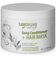 Organic Deep Conditioner Hair Mask: Moisturizing for Shiny Smooth Manageable Hair. Coconut Oil Conditioning Treatment Repairs Dry Damaged Hair. Safe for Color or Keratin Treated Hair. (Made in USA)