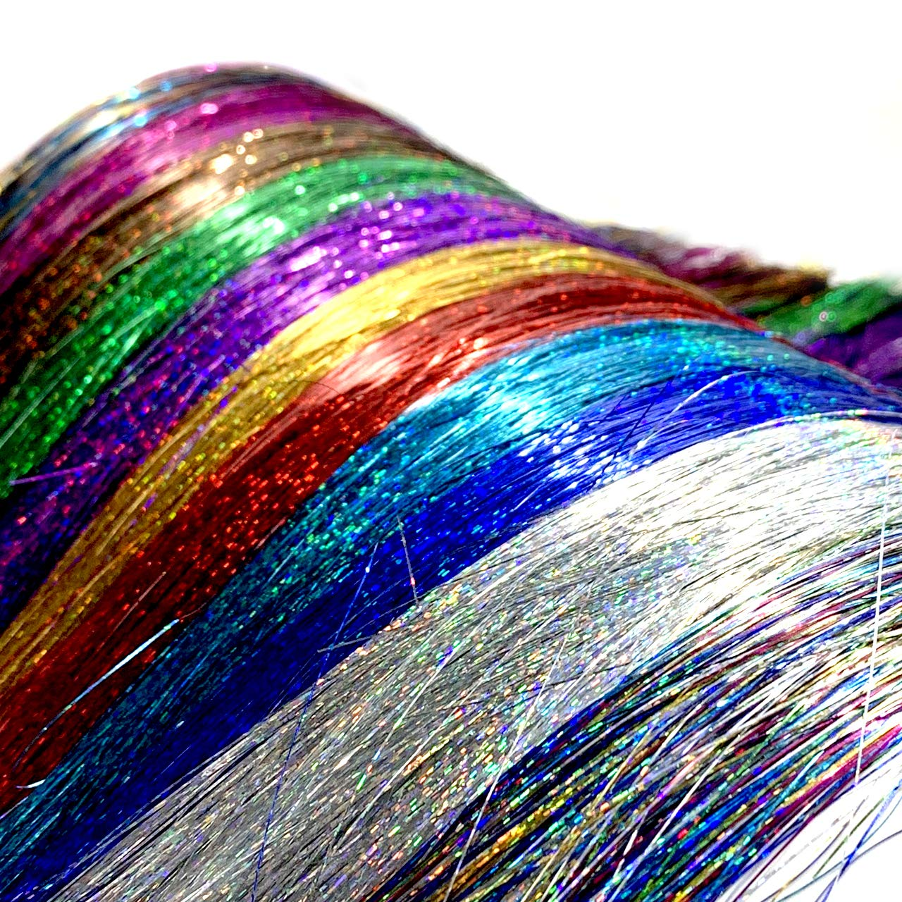 PINKAGE Glitter Hair Tinsel Strands 12 Colors SET, Colored Party and Festival Highlight Sparkling Hair Extensions