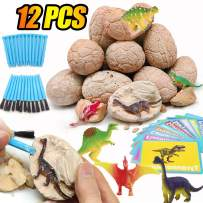 """AMENON Dinosaur Toys Dig Kit Dino Eggs with Unique Figure Toys , 3.2"""" Jumbo Dino Egg Discover 12 Unique Dinosaur Science Kits,Children's Day Gift for Kids Boys Birthday Gifts Dinosaur Party Favors"""