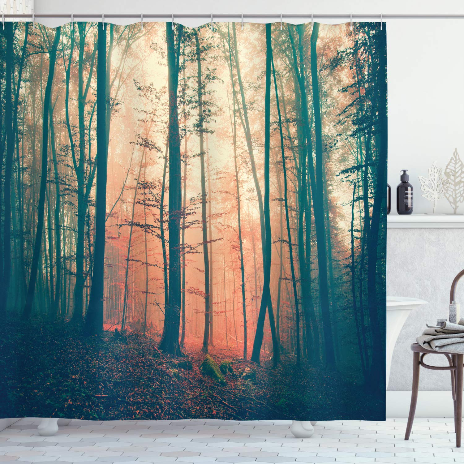 "Ambesonne Mystic Shower Curtain, Pale and Vintage Color in Mysterious Autumn Forest Woodland Nature Picture, Cloth Fabric Bathroom Decor Set with Hooks, 70"" Long, Coral Green"
