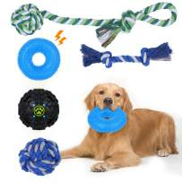 Dog Chew Toys, HngyiaDlai Dog Puppy Toys for Teeth Cleaning, Pet Squeaky Rubber Food Ball Toy Kits, Tug of War, Interactive Toys, Water Toy, Durable IQ Training Ball for Small Dogs Puppy Toys (5 Pack)