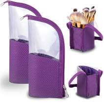 Travel Make-up Brush Holder Organizer Bag 2-Pack, Pencil Pen Case for Desk, Clear Plastic Cosmetic Zipper Pouch, Portable Waterproof Dust-Free Stand-Up Small Toiletry Stationery Bag Divider, Purple