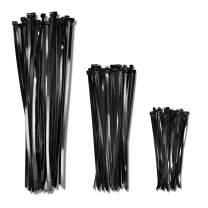 "12"" 120lb, 18"" 180lb, 26"" 200lb, Black Extra Heavy Duty Combo (150 Pack, 50 each size) Zip Ties, Choose Size/Color, By Bolt Dropper"