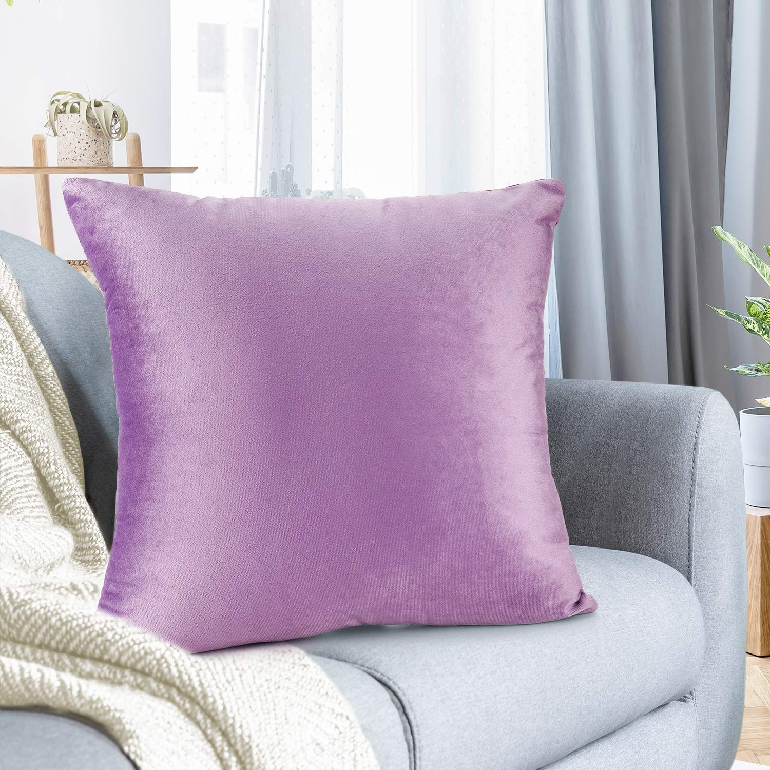"Nestl Bedding Throw Pillow Cover 24"" x 24"" Soft Square Decorative Throw Pillow Covers Cozy Velvet Cushion Case for Sofa Couch Bedroom - Lavender"