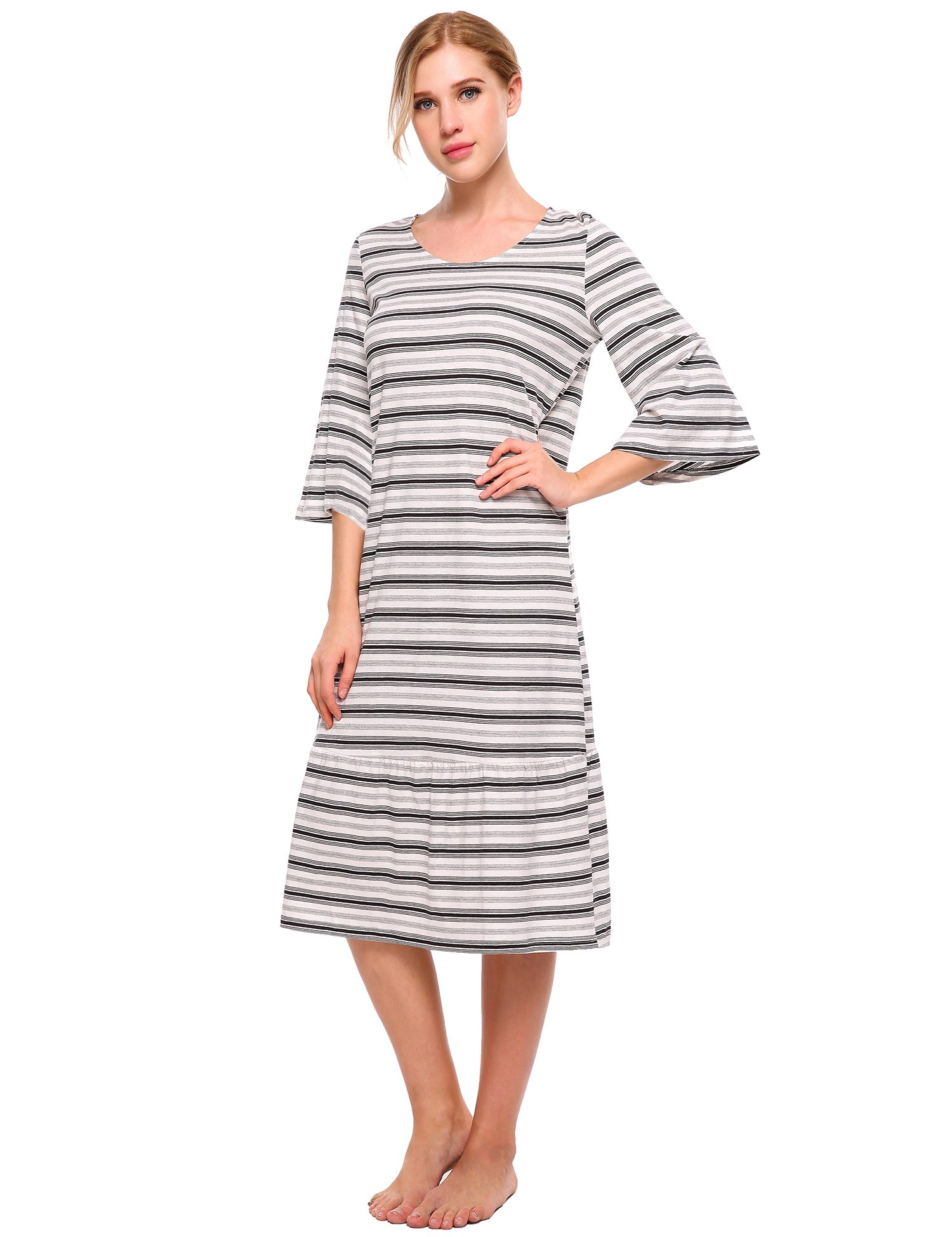 luxilooks Striped Sleepwear Women's Round Neck Long Nightgown 3/4 Sleeve Loungewear Loose Length Casual Nightshirt S-XXL
