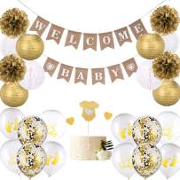 Whaline 33Pcs Baby Shower Decorations Set, Including Welcome Baby Banner,Paper Lanterns,Paper Pompoms,Honeycomb Balls,Cake Toppers,Balloons,Gold and White Gender Neutral for Boy or Girl