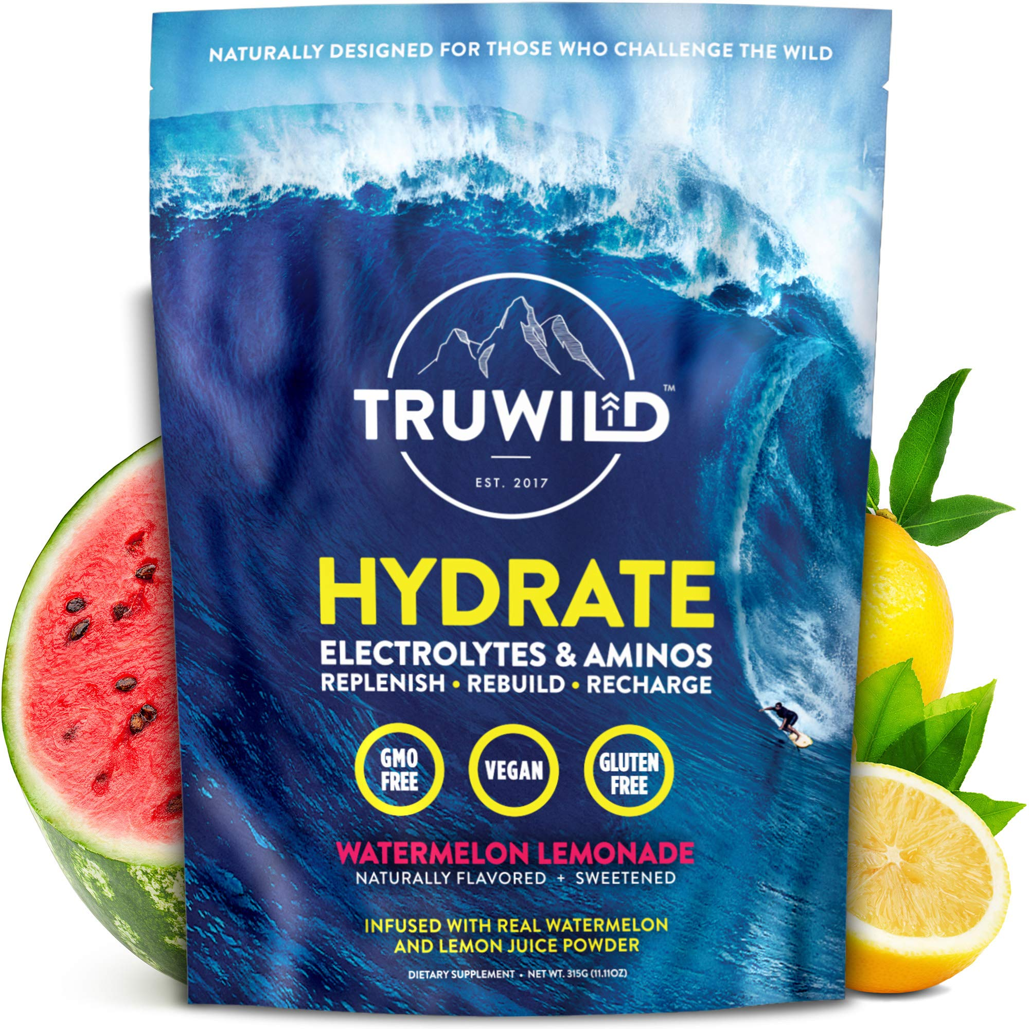 Hydrate Electrolyte + Amino Acids Drink Mix Powder | Clean Post Workout Recovery & Immune Supplement | Vitamin C, Zinc & Magnesium Support | Natural Lemon & Watermelon Juice | Vegan | Non GMO