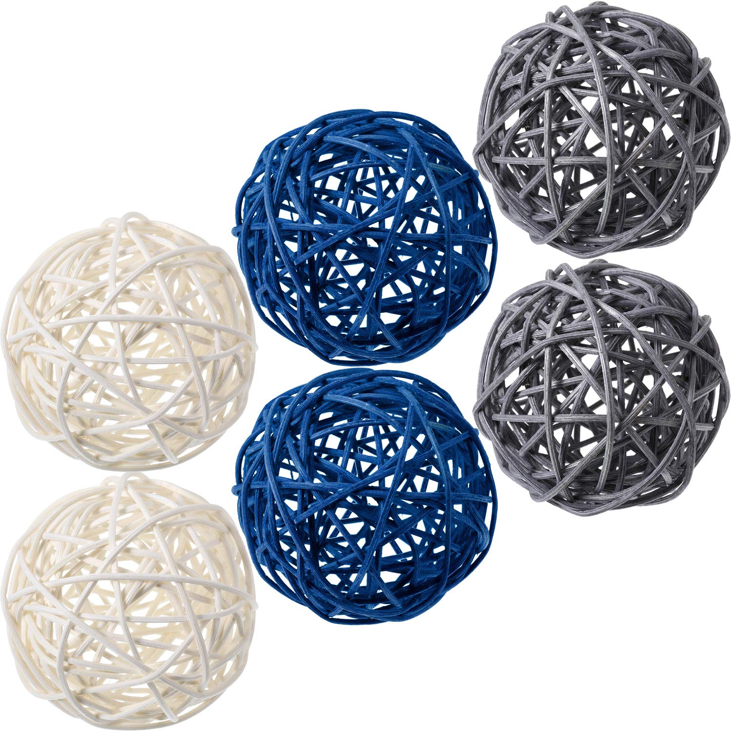 Yaomiao 6 Pieces Wicker Rattan Balls Decorative Orbs Vase Fillers for Craft Project, Wedding Table Decoration, Themed Party, Baby Shower, Aromatherapy Accessories (Blue Gray White)