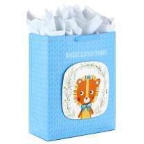 "Hallmark 15"" Extra Large Gift Bag with Tissue Paper (Sweet Little Prince Lion) for Baby Showers, Kids Birthdays and More"