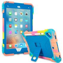 ACEGUARDER iPad 9.7 Case 2018 iPad 6th Generation Case/2017 iPad 5th Generation Case/iPad Air 2 Kids Case, Shockproof Heavy Duty Silicone Protective Cover with Kickstand (Ice Cream/Blue)