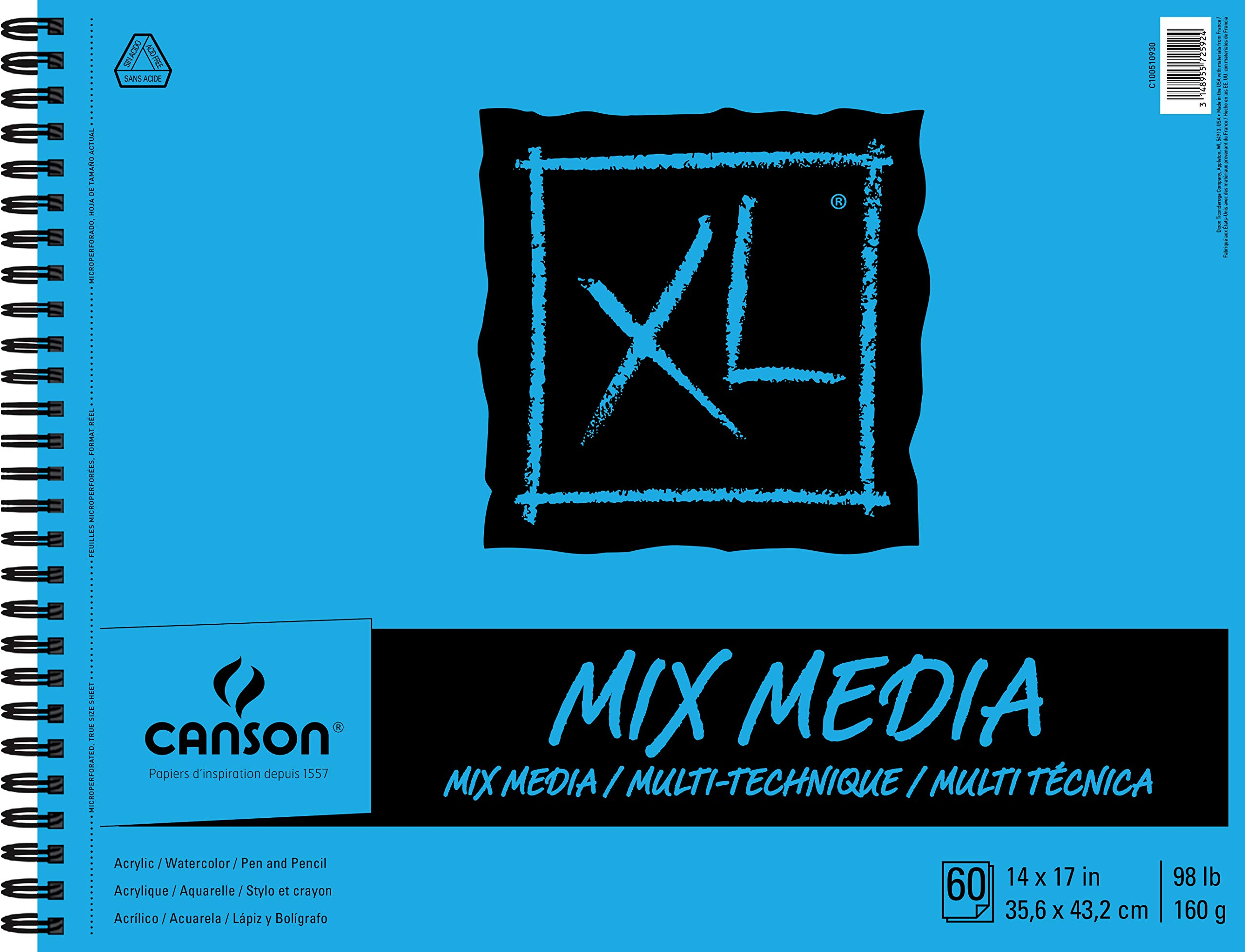 """Canson XL Series Mix Paper Pad, Heavyweight, Fine Texture, Heavy Sizing for Wet and Dry Media, Side Wire Bound, 98 Pound, 14 x 17 in, 60 Sheets, 14""""X17"""", 0"""