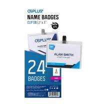 """OS Plus Clip On Style Name Badges, Top-Loading, Precut Inserts, 3"""" X 4"""", 24 Pack"""