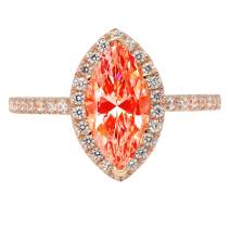 2.35ct Brilliant Marquise Cut Solitaire with Accent Halo Red Simulated Diamond CZ VVS1 Designer Modern Statement Ring Solid 14k Rose Gold Clara Pucci