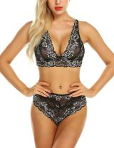 klier Women's Lingerie Lace Bra Bralette and Panty Set Deep V 2 Piece Babydoll Bodysuit