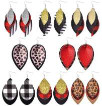 Leather Earrings for Women Lightweight Layered Leather Earrings Teardrop Leopard Plaid Stripe Glitter Leaf Dangle Earrings Faux Leather Earrings 8Pairs