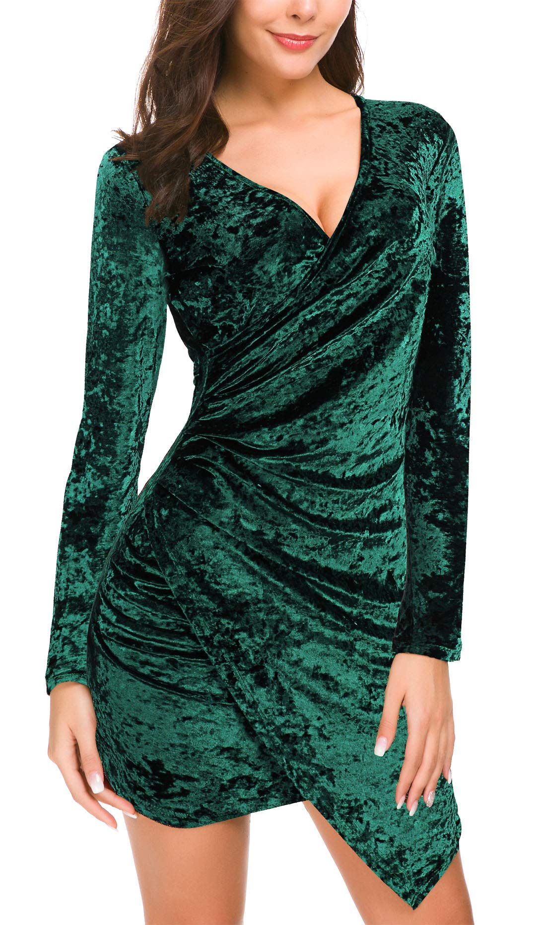 DGMYG Women's Wrap V Neck Velvet Dress Long Sleeve A line Bodycon Slim Cocktail Party Dresses